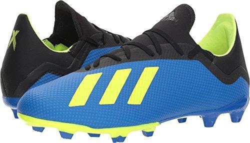 adidas Men's X 18.3 Firm Ground Soccer Shoe, Football Blue/Solar Yellow/Black, 10 M US