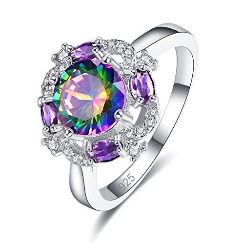 - Narica Women's 925 Sterling Silver Filled Round Cut Rainbow Topaz Promise Proposal Engagement Wedding Rings Size 8