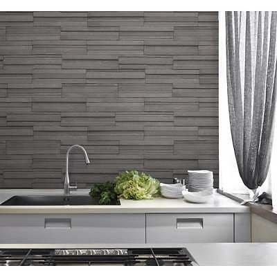 Fine Decor Ceramica Slate Tile Washable Wallpaper Charcoal (Charcoal Wallpaper)
