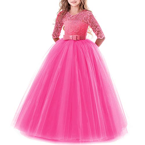 IBTOM CASTLE Spring Flower Girl Wedding Bridesmaid 3/4 Sleeves Kids Floral Lace Pageant Communion Princess Dress Prom Evening Dance Gown Hot Pink 7-8 Years -