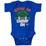 Rookie Wear by Smack Apparel Florida Football Fans. Drink Up Chomp On. Blue Onesie (NB-18M) & Toddler Tee (2T-4T)
