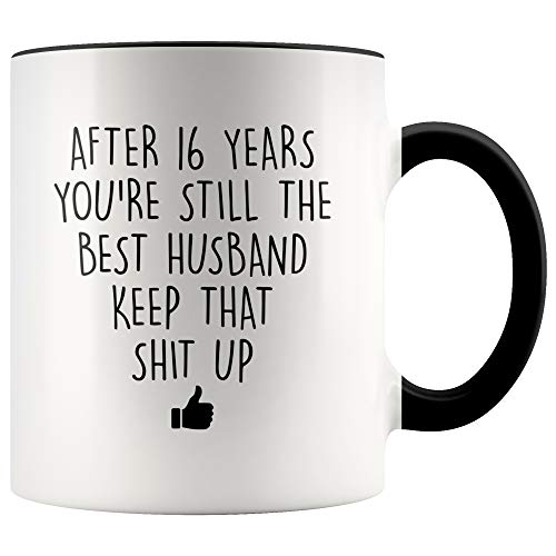 YouNique Designs 16 Year Anniversary Coffee Mug for Him, 11 Ounces, 16th Wedding Anniversary Cup For Husband, Sixteen Years, Sixteenth Year, 16th Year