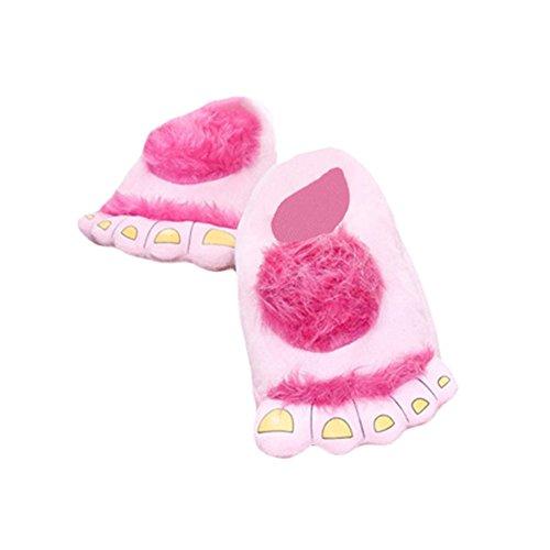 RGTOPONE Antideslizante Calentar Zapatillas De Invierno Cómodo Pies De Hobbit Monstruo Peludo Aventuras Universal Zapatilla De Novedad Se Adapta A Todos Los Tamaños Rosa