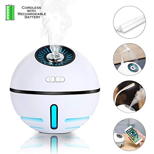 FAMATE Cordless Cool Mist Humidifier 2000mAh Rechargeable Travel Humidifier USB Mini Humidifier Small Personal Air Humidifier for Car, Office,Auto Shut-Off, Run up to 12 Hours(White)