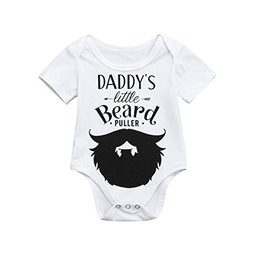 Baby Toddler Kids Short-Sleeved Letters Mustache Print Halter Onesies Daddy's Little Beard (6-12Month, White) -
