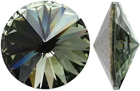 Piedras preciosas de cristal Swarovski Elements; 1122Rivoli; 14mm; 2piezas; Diamante Negro SF