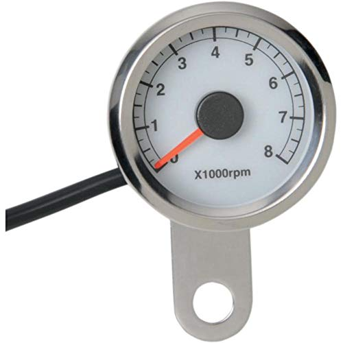 Drag Specialties 2211-0122 Polished 1-7/8in. Electronic Tachometer - White ()
