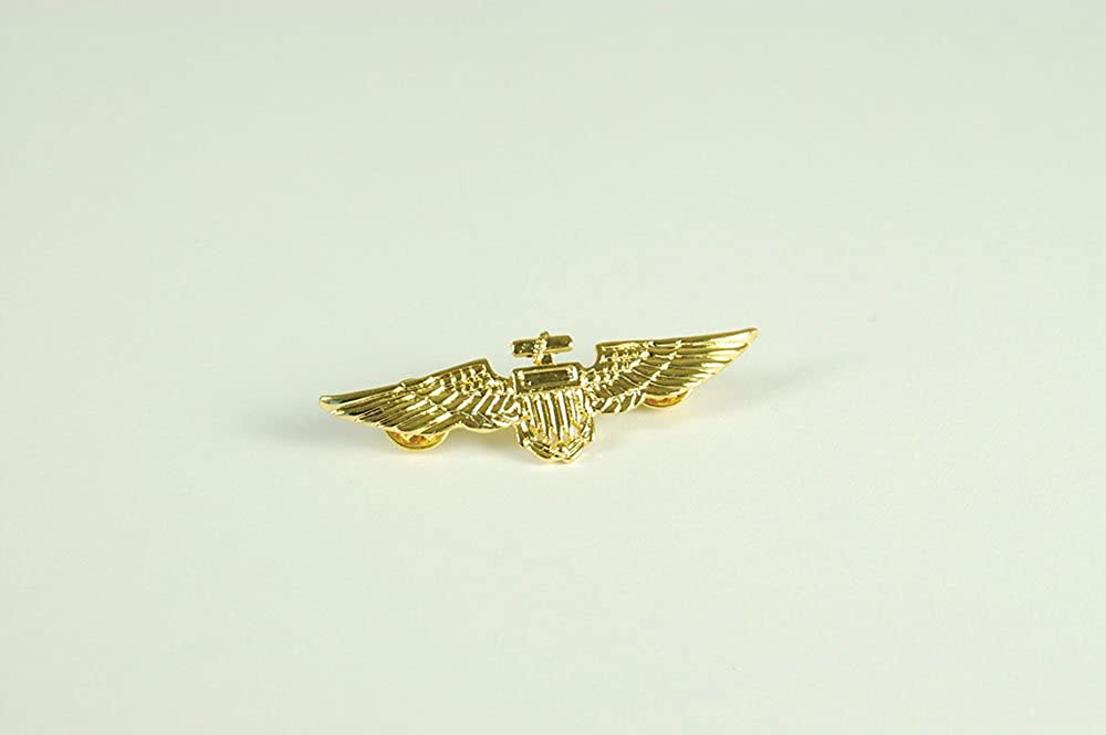 Gold Aviator Pin Metal Badge for Pilot Crew Airline Air Fancy Dress Accessory