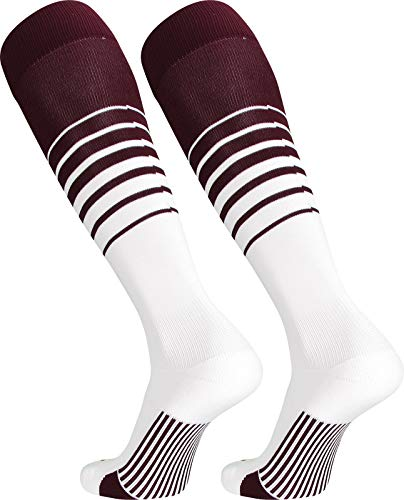 TCK Sports Elite Breaker Soccer Socks (Maroon/White, Medium)