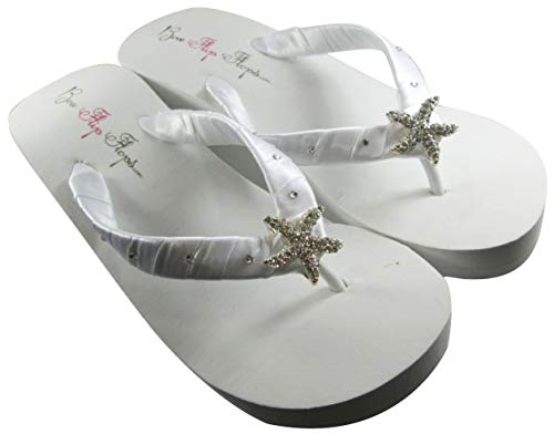 White High Wedge Starfish Swarovski Flip Flops Womens Bridal Wedding Platform Heel Satin -