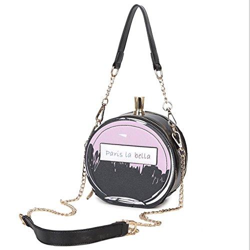 GuoFeng Bolso de Estilo de Botella de Perfume, Bolso de Moda, Mini Bolsa de Mensajero de Personalidad, Nuevo Bolso de Hombro. (Color : Black) Black