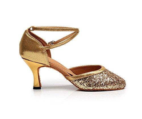 Minishion Kvinners Jenter Komfortabel Glitter Latin Salsa Ballroom Dans Sko Bryllup Pumper For Kvinnelige Gull 7,5 Cm Hæl