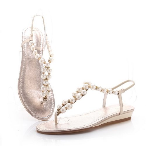 M Open with Leather Cow WeenFashion Leather Thong 6 Solid Womens 5 B Sandals Toe Pearl Heel Low US Patent Nude q5wgUwC