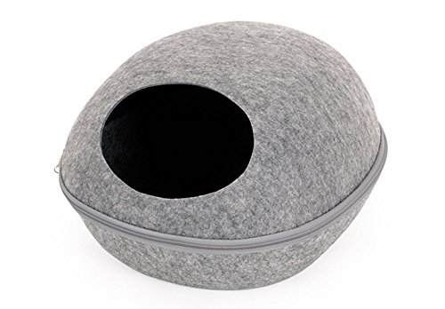 Dog Cat Bed Sleeping Bag Zipper Egg Shape Felt Cloth Warm Pet House All Around Nest (Grey)