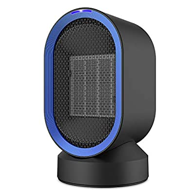 CozyBasics Personal Space Heater, Mini Electric Desk Heater Fan, PTC Ceramic Heater with Auto Oscillating Warm/Natural Wind For Home Office Floor or Desktop