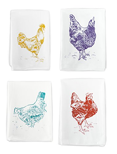 Rigel Stuhmiller Chicken Kitchen 4-Pack Assortment of Screenprinted 100% Cotton Flour Sack Dish Towels