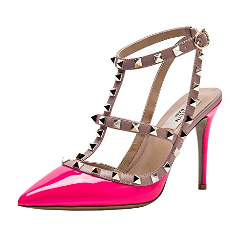 - Kaitlyn Pan RockStud Slingback High Heel Leather Pumps (10US/ 41EU/ 43CN, Peony Pink Patent/Nude Straps/Gold Studs)