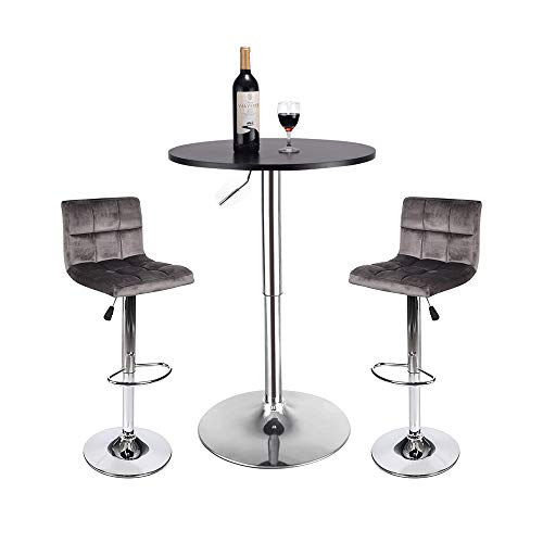 (BarStool Table 3-set Coffee Home Velvet Fabric Tufted Foam Silver Chrome Foot Rest Counter Bar Height Adjustable Outdoor Indoor 24-inch Wooden Gas Desk SGS Wine Drink Dining Round Black Grey Velvet)