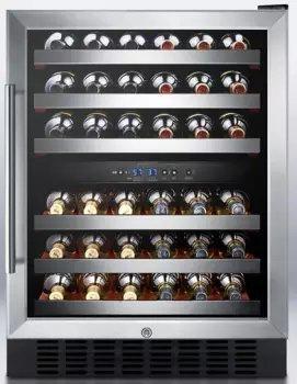 24' Freestanding Wine Cooler - Summit 24'' Wide Dual Zone Built In Wine Cellar, Stainless Steel Exterior Glass Door, SWC530LBISTCSS