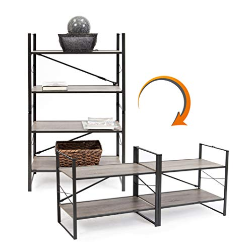 (Origami/Pop It 2-in-1 Vertical or Horizontal Flip Rack, No Tools Needed | Bookcase, Organizer, Portable Storage, Display for Home and Business, Holds up to 30 lbs/Shelf (120 lbs Total) | Wood/Steel)