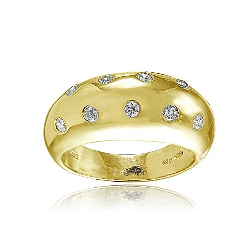 Cubic Zirconia Silver Dome Ring - Hoops & Loops Yellow Gold Flashed Sterling Silver Cubic Zirconia Dome Band Ring, Size 9