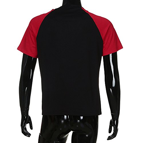Hommes Slim Manche shirt Casual Contraste Muscle Couleur Blouse Rouge Courte Fit Amlaiworld Patchwork De Top T FwtE7E