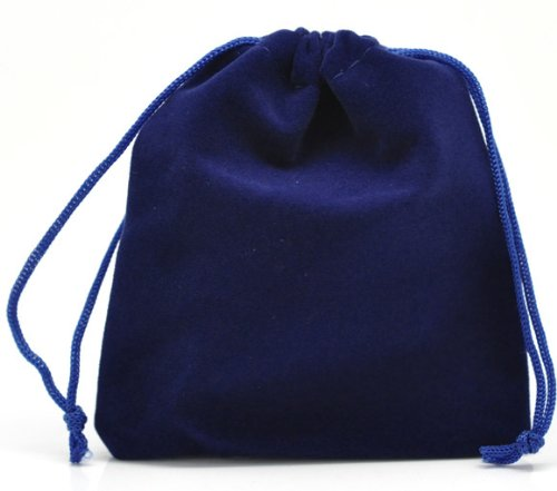 PEPPERLONELY Brand 10PC Dark Blue Velvet Drawstring Pouches Jewelry Gift Bags 12x10cm (4-3/4 x 4 Inch)