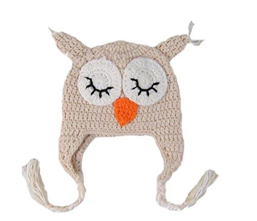 Ximkee Kids Baby Boy Girl Crochet Sleepy Owl Hat Beanie Photography Props -