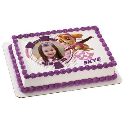 8 Inch Round Cake - Paw Patrol Skye - Edible Photo Frame Cake Topper - D18731