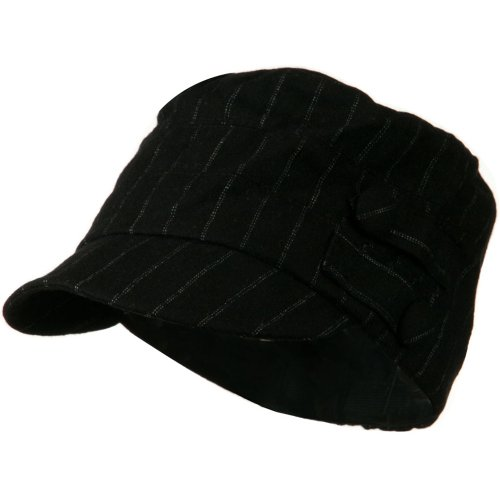 (Army Cadet Military Cap with Buttons - Black Pin Stripe OSFM)