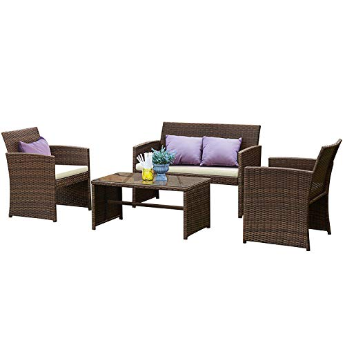 - Tangkula Patio Furniture Set 4 Piece Outdoor Rattan Wicker Sofa Cushioned Seat Garden Lawn Poolside Sectional Conversation Set with Glass Top Coffee Table, Wicker Furniture
