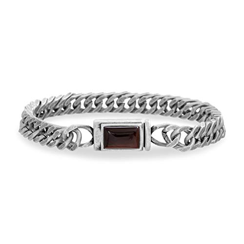 Steve Madden Men's Red Simulated Tiger's Eye Square Accent Franco Chain Bracelet in Stainless Steel, Silver-Tone, One - Tigers Tone Eye Silver
