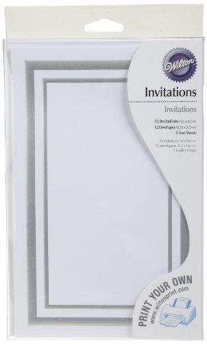 - Wilton 12-Pack Platinum Borders Invitation