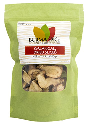 Sliced Dried Galangal (Greater) from Alpina galanga used in Tom Yum and Tom Kha soups, Kosher (3.5oz.)