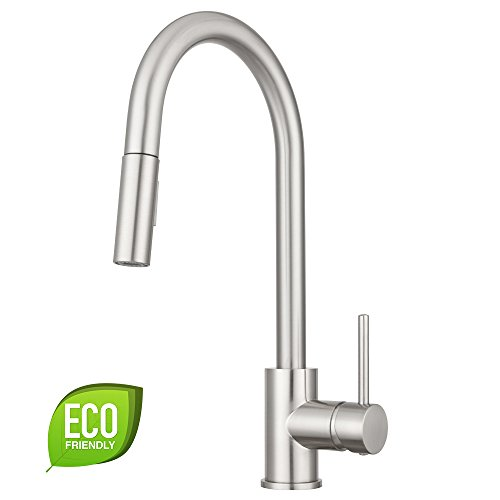 Bellevue Kitchen Faucet by Pacific Bay (Brushed Satin Nickel) - Features an In Line Pull Down Sprayer with Multiple Spray Functions and an Eco Friendly Water and Energy Saver - New 2018 (Spray Satin Nickel Kitchen)