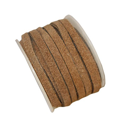 Genuine Suede Flat Leather Lace, Leather Cording for Jewelry & Crafts 4mm Tan, 10 Meters (10.93 Yards) cords craft E1-119