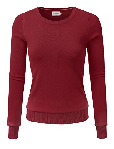 JJ Perfection Women's Simple Crew Neck Pullover Chic Soft Sweater with Plus Size