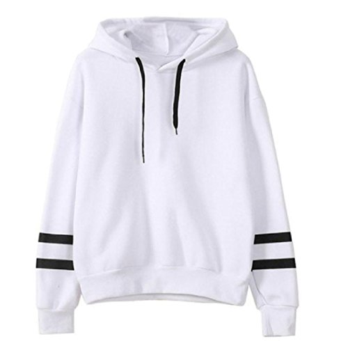 キャプション休憩説明的Nicellyer Women's Solid Stylish Sexy Stirpe Outwear Pullover Sweatshirts