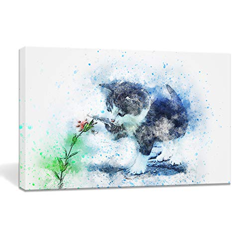 Cat Wall Art Canvas Painting Framed Prints Artwork Watercolor Pictures Cute Animal Poster Bedroom Home Decor 10x16in (Blue) (Cat Watercolor)