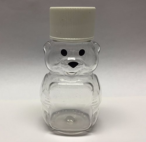 24 Pack of 2 oz. Honey Bear Plastic Squeeze Bottle with Screw Cap Small Miniature 2 3/4