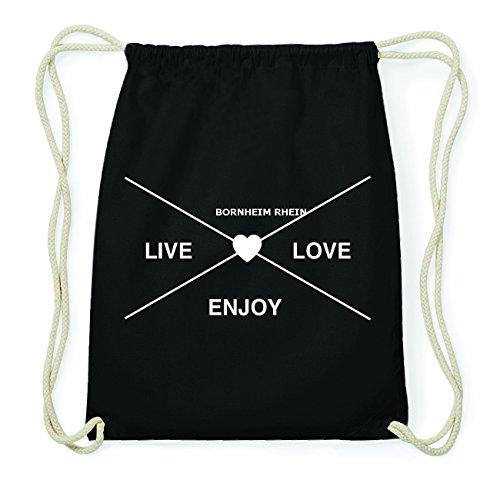 JOllify BORNHEIM RHEIN Hipster Turnbeutel Tasche Rucksack aus Baumwolle - Farbe: schwarz Design: Hipster Kreuz
