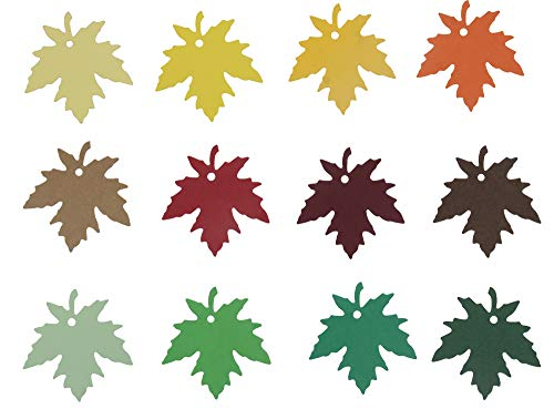 (Floranea 120 Pcs Maple Leaves Gift Tags with Organza Ribbons Favor Colorful Kraft Paper Hanging Sign Name Tag for Thanksgiving Christmas Party Wedding Baby Shower Fall Wishing Tree Holiday)