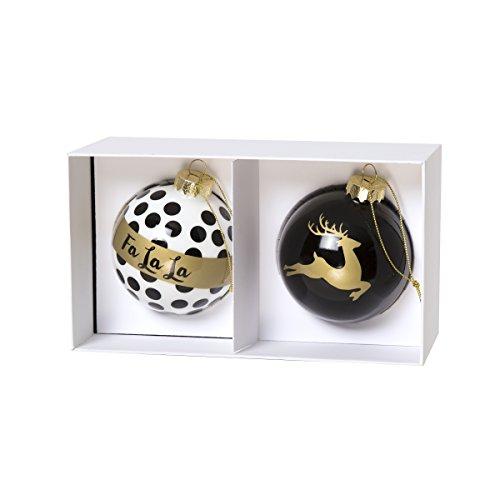 C.R. Gibson Festive Enameled Glass Christmas Ball Ornaments, Set of 2, FA La/Trees