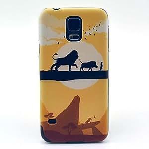 HP-Patrón de la historieta animal del león de la cubierta dura del caso para la galaxia de Samsung i9600 s5