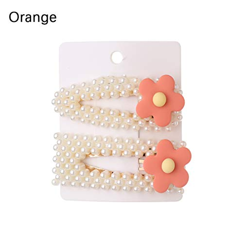 Bar Soap Wild Banana - 2Pcs/Set Fashion Pearl Flower Hair Clip Elegant Design Snap Barrette Stick Hairpin Hair Styling,Orange