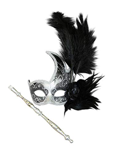 Thrones Hand-held Masquerade Mask (Unisex; One Size; Silver/Black) -