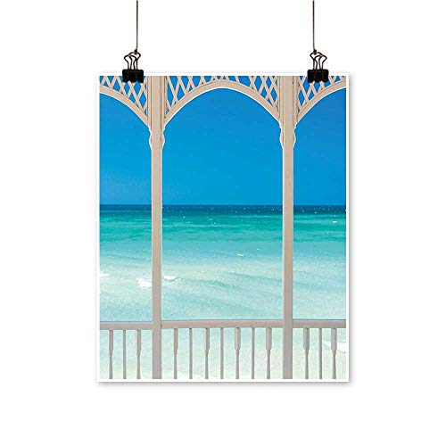 Artwork for Office Decorations Coastal Maldives Tropic Ocean Cuban Shore Photo Sky Blue Turquoise and Canvas Living Room,12