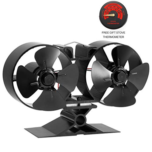 CRSURE Fireplaces Stove Fan - Double Motor - 8 Blade Heat Powered Stove Fan Specially for Large Room for Fireplace, Wood/Log Burner (Small Size) (Stove All Wood)