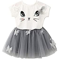 Kids Girls Cat Pattern Shirt + Tulle Skirt Summer Clothing Set