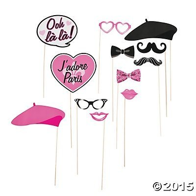 Paper Pink Paris Photo Booth Stick Props